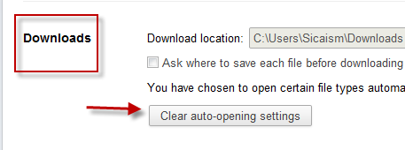 Chrome: Clear Auto-Opening Settings