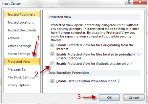 Office 2010: Disable Protected View for Outlook Attachments