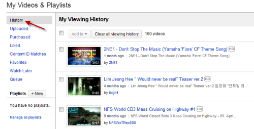 how to find videos i watched on youtube