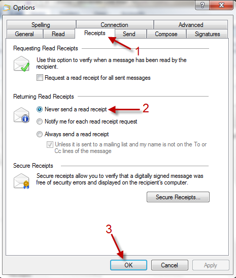 Windows Live Mail 2011: Disable Read Receipt Notifications