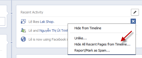 Facebook: Hide or unhide recent activities
