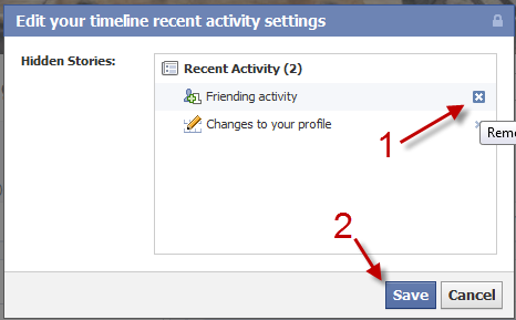 Facebook: Hide or unhide recent activities