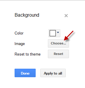 google docs use a custom image as background in a presentation