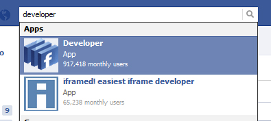 Facebook Developer App Search