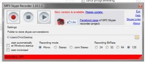 MP3 Skye Recorder Interface Settings