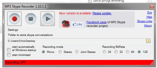 MP3 Skye Recorder Interface Settings