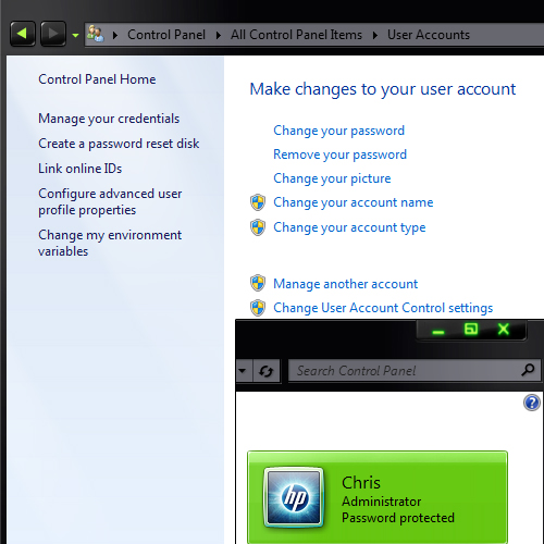 User Accounts Screen Windows 7