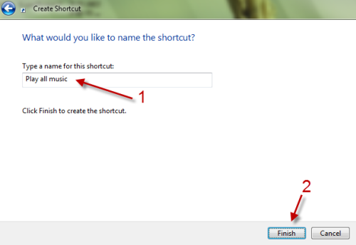windows media player  create shortcuts to play all music