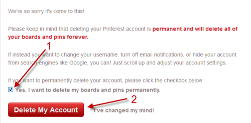 Image result for how to delete pinterest account