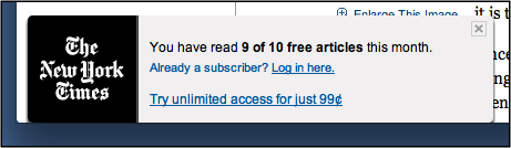 example of the NYT paywall