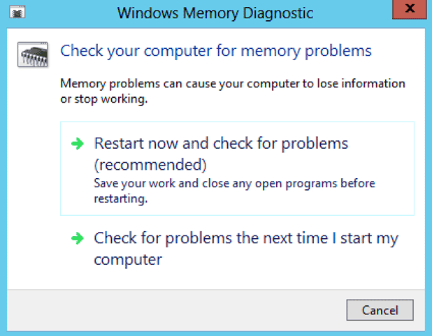 checking memory for memory problems