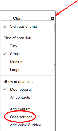 Select Chat Settings in Left Column