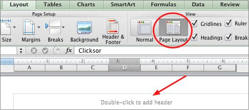 manual add header in page layout mode