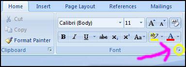 word 2007 select default font 1