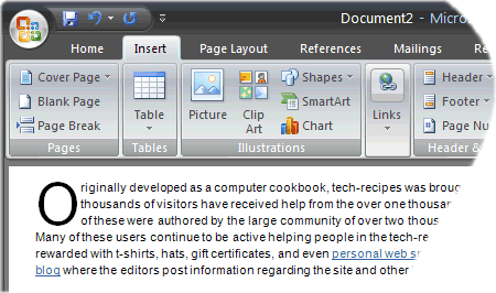 example of using drop case in Word