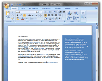 example of a sidebar in Word
