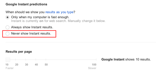 enable google results per page slider