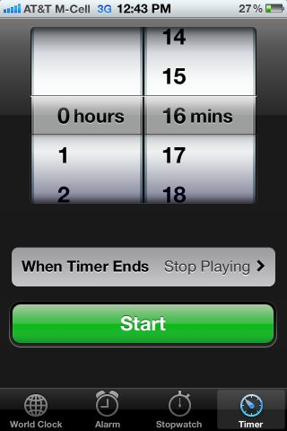 iphone timer screen