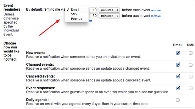 select email, sms, or pop-up notifications