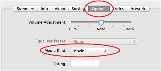select options tab and then your media type