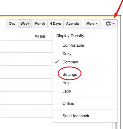 select settings under google's gear