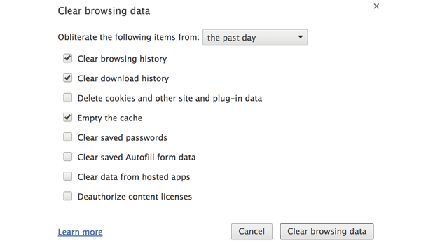 google chrome clear download history
