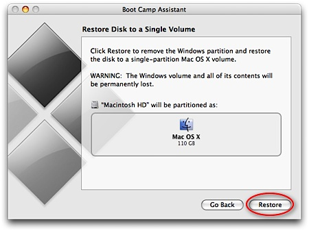 Select to Restore partition.