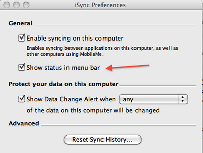 uncheck show status in menu bar under iSync preferences