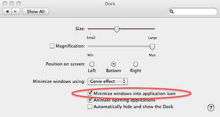 minimize windows into application icon