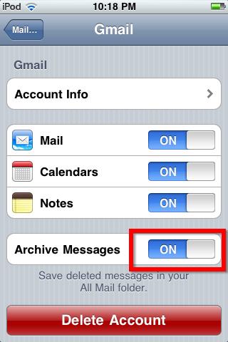disable archive messages
