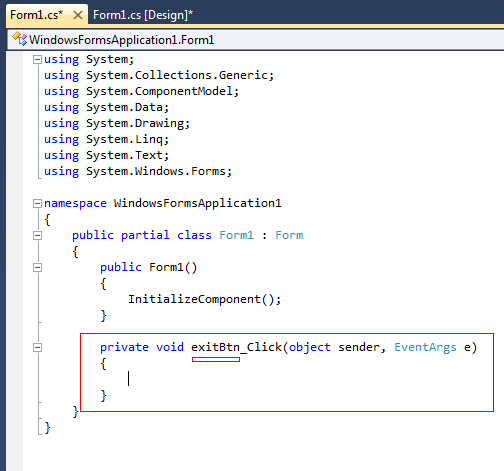 Create an Exit Button in C# Visual Studio