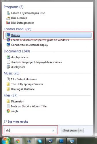 windows 7 display search