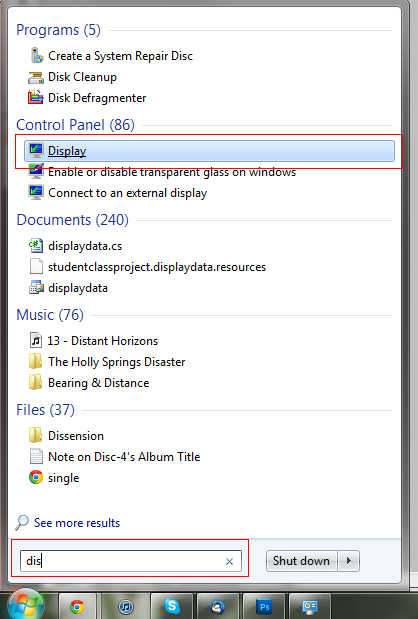 windows 7 display search