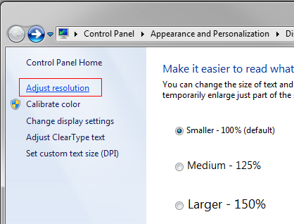 Windows 7 Adjust Resolution