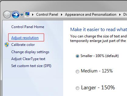 Windows 7 Adjust Resolution
