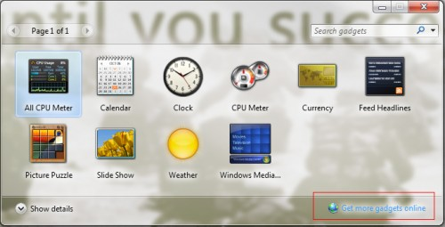Windows 7 Gadget Menu