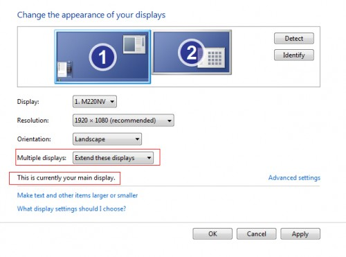 Windows 7 dual monitors extend display