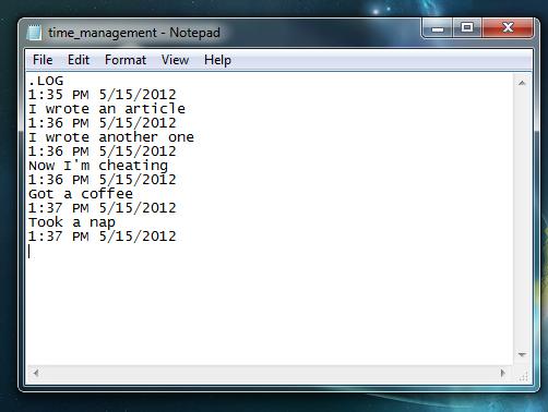 timestamps in log file