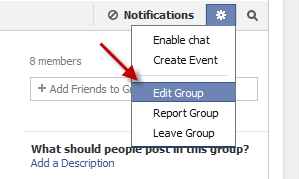 how to change the name of a facebook group
