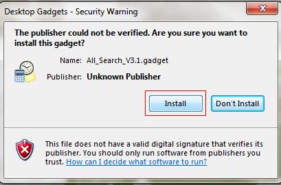 Installing Windows 7 Gadget