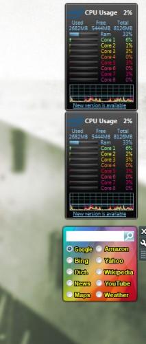 Windows 7 New Gadgets on the desktop