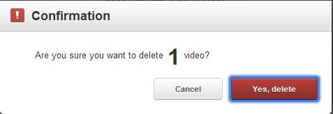 Delete Video Confirmation
