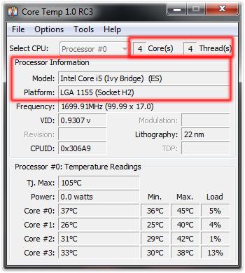 CoreTemp Processor Information