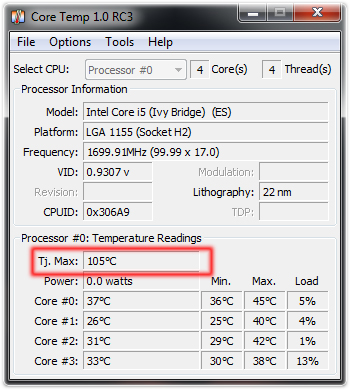 Cpu temperature max