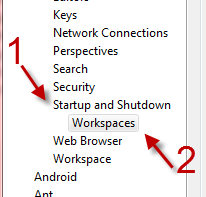 myecilpse how to change to prompt workspace when startup