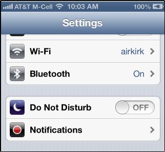 do not disturb settings