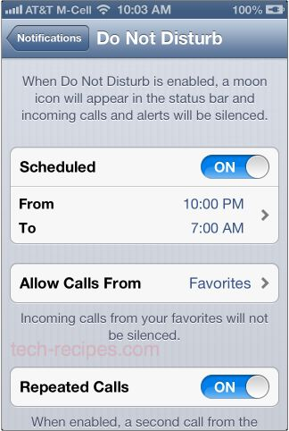do not disturb schedule