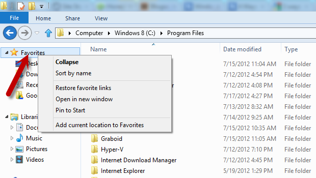 How do i save my favorites in windows 8