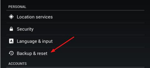select backup reset