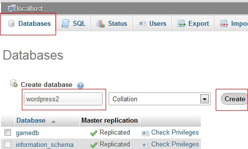 Wordpress Create database phpmyadmin